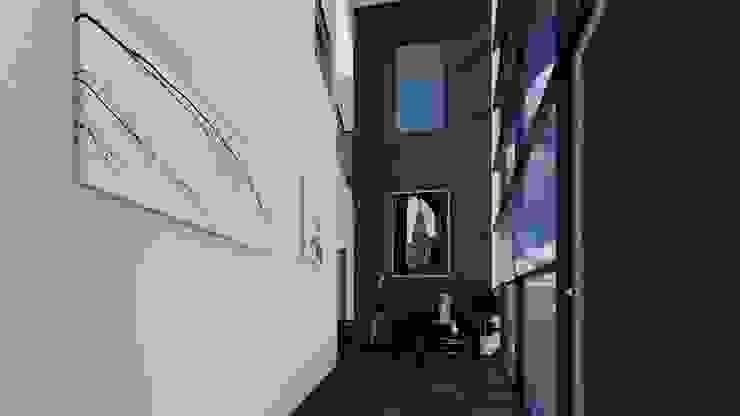 Hall de ingreso doble altura Salas modernas de Arq. Bruno Agüero Moderno