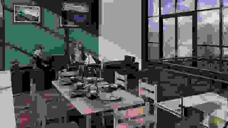 Sala, comedor y terraza. Salas modernas de Arq. Bruno Agüero Moderno