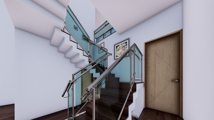 Escalera con lucernario de Arq. Bruno Agüero Moderno