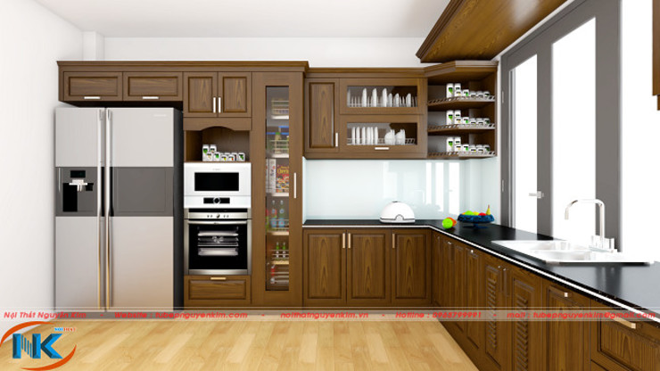 Hình ảnh đẹp của tủ bếp sồi nga giá rẻ và tủ bếp gỗ sồi mỹ đẹp bởi Nội thất Nguyễn Kim