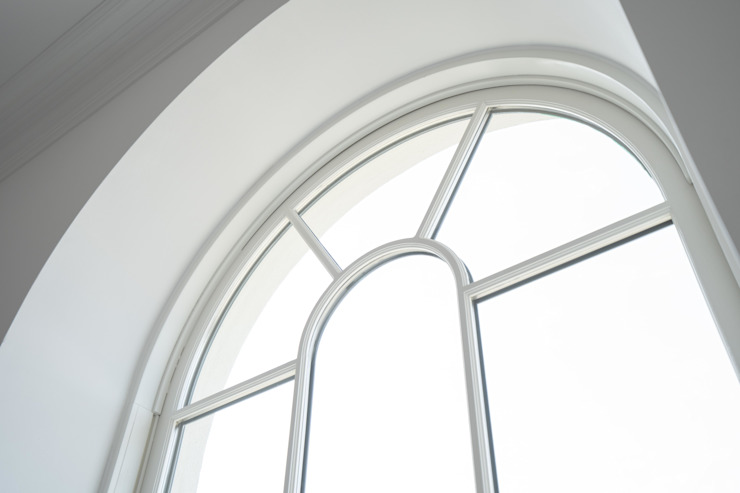 Round Top Sash Window With Glazing Bar Detail Marvin Windows and Doors UK Jendela kayu Kayu White