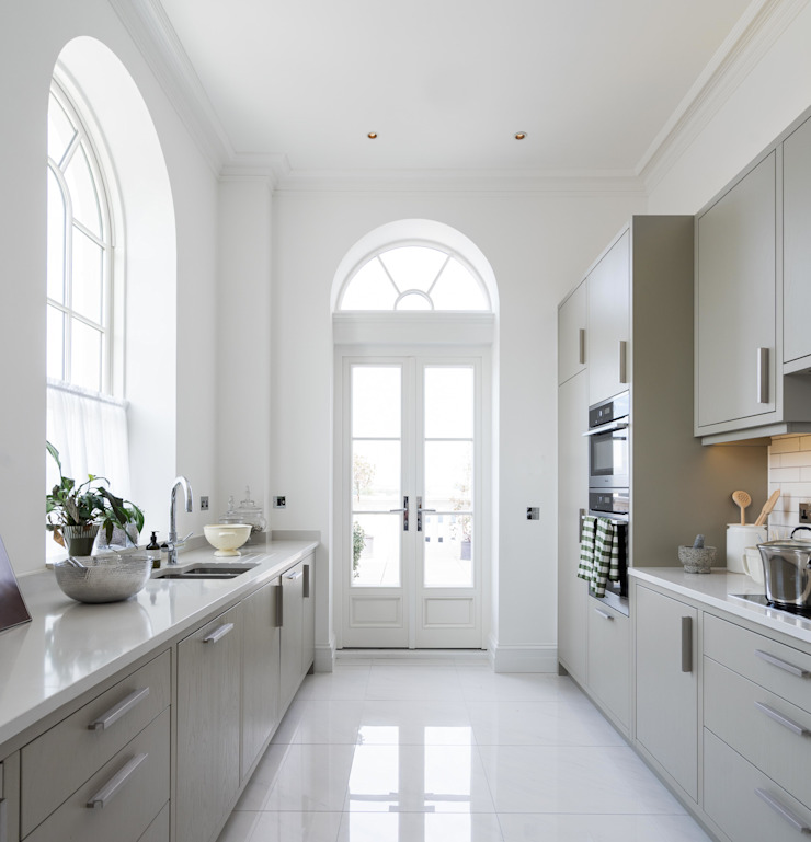Georgian French Doors With Fixed Round Lighting Above Marvin Windows and Doors UK Jendela kayu Parket White