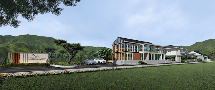 โครงการพัฒนาที่ดิน เพื่อสร้างบ้าน ของบริษัท บ้านระเบียงขาว จำกัด ที่อ.หัวหิน บริษัท บ้านระเบียงขาว จำกัด อาคารสำนักงาน คอนกรีต Grey