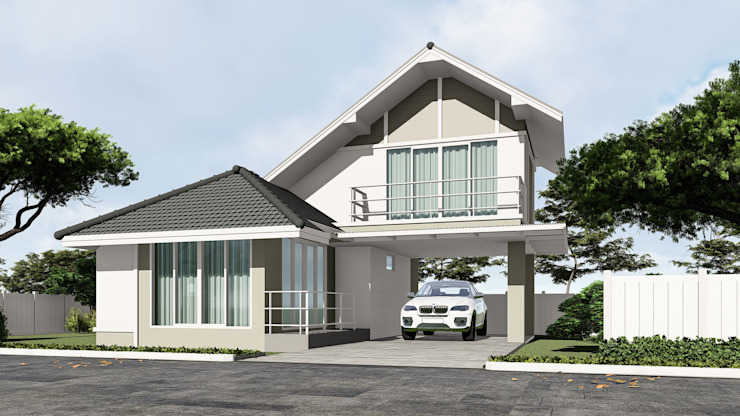 บ้านตัวอย่างของบ้านระเบียงขาว ในโครงการที่หัวหิน บริษัท บ้านระเบียงขาว จำกัด Commercial Spaces คอนกรีต Brown