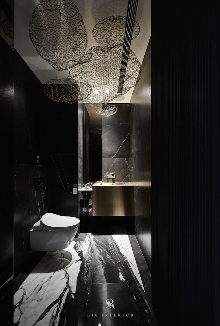 生生創研|XOR Creative Research 理絲室內設計有限公司 Ris Interior Design Co., Ltd. BathroomToilets Marble Black