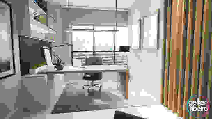 Estudios y oficinas modernos de Gelker Ribeiro Arquitetura | Arquiteto Rio de Janeiro Moderno Madera Acabado en madera