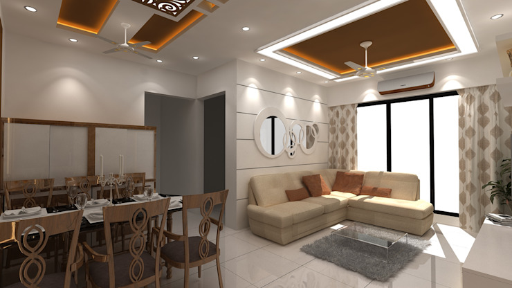 LIVING AREA WITH SOFA SEATTING Modern living room by Clickhomz Modern