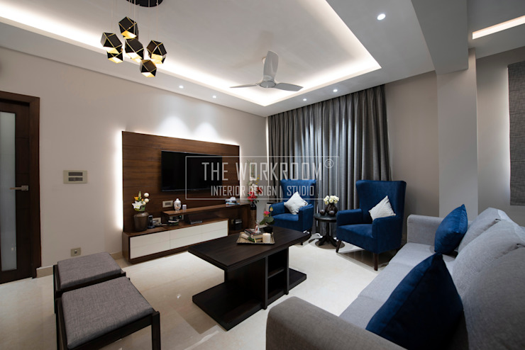 Apartment in Ridgewood Estate, Gurugram The Workroom Modern living room Grey