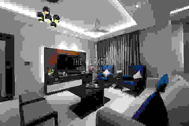 Apartment in Ridgewood Estate, Gurugram Modern living room by The Workroom Modern