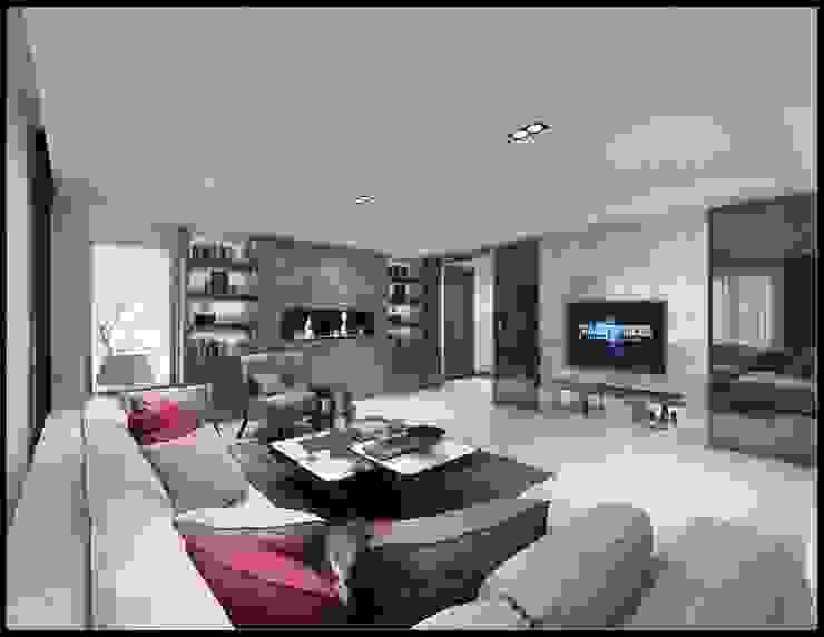 台中國美晴空劉公館 现代客厅設計點子、靈感 & 圖片 根據 立騰空間設計 現代風