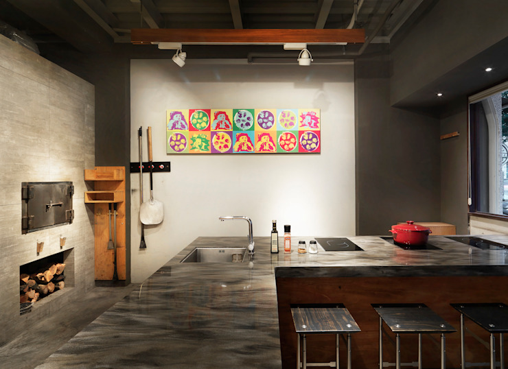 木耳生活藝術-商業空間/新竹・窯烤披薩店 根據 木耳生活藝術 現代風 實木 Multicolored