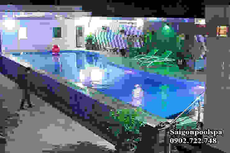 Thiết kế xây dựng hồ bơi gia đình bởi Saigonpoolspa Mộc mạc