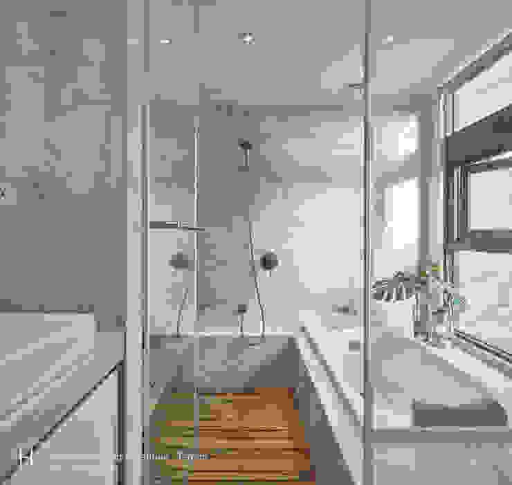 衛浴空間可淋浴也能泡澡 現代浴室設計點子、靈感&圖片 根據 SECONDstudio 現代風