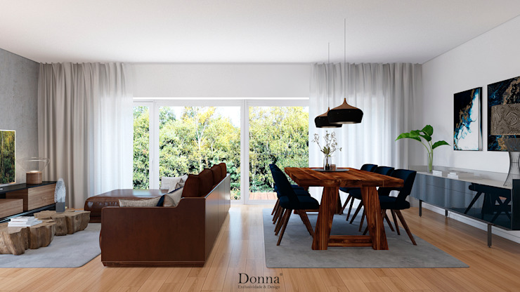 Sala Apartamento Salas de jantar industriais por Donna - Exclusividade e Design Industrial