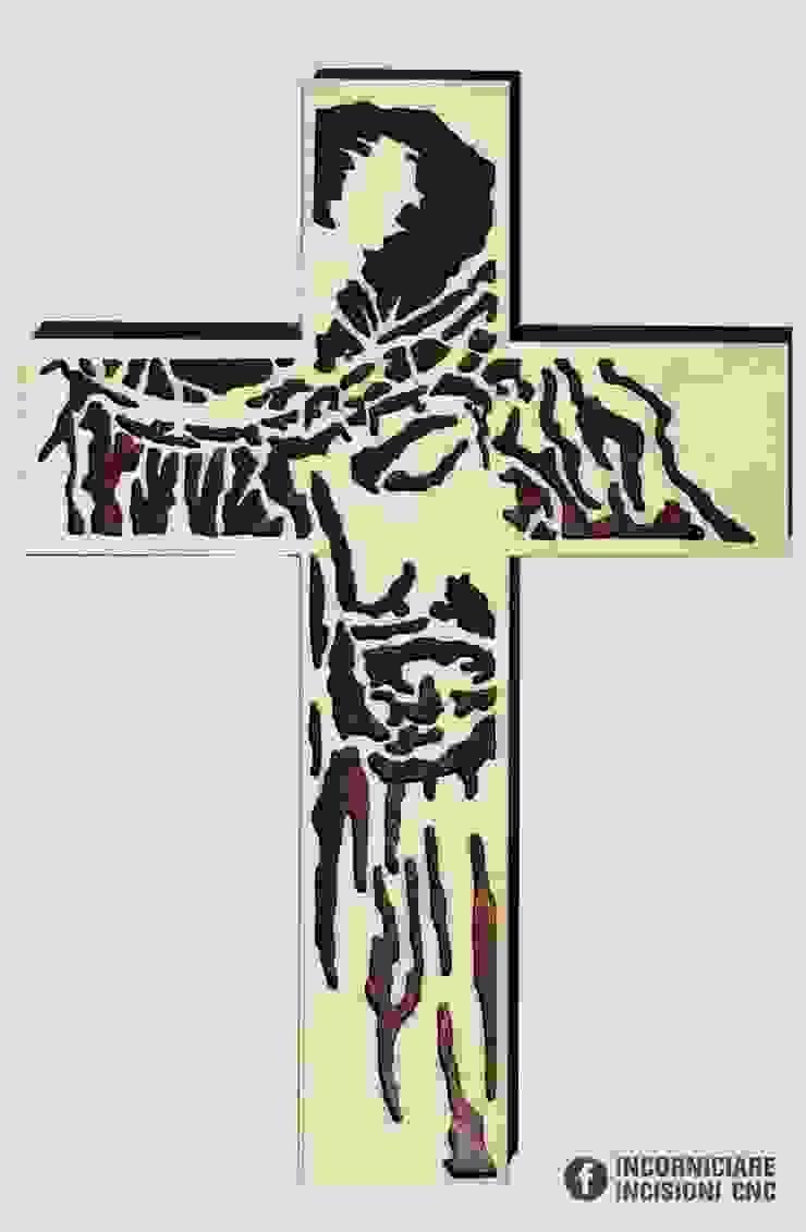 Croce di Gesù in legno Volto Santo Stilizzato di INCORNICIARE Mediterraneo Legno Effetto legno