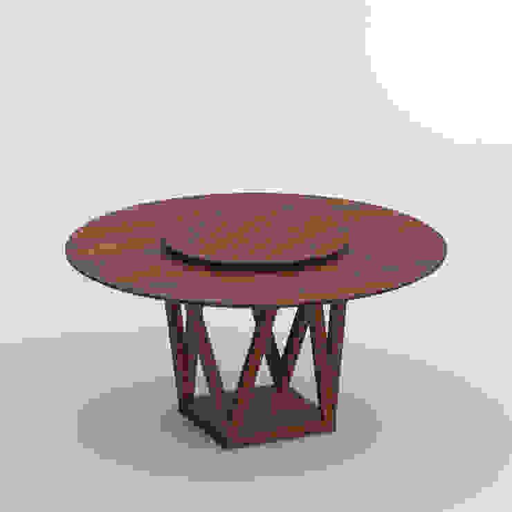 tavolo con piatto girevole centrale legno massello Soggiorno moderno di Mobili a Colori Moderno Legno massello Variopinto