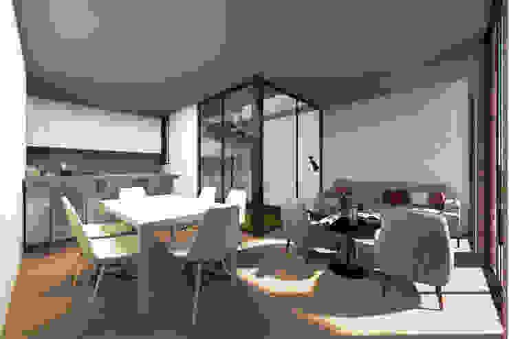Residencial Koatl G._ALARQ + TAGA Arquitectos Salones minimalistas