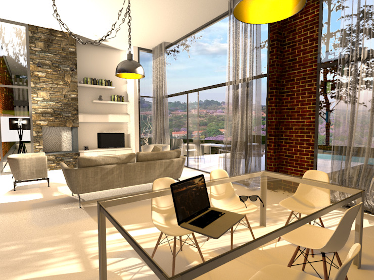 Living Room with Fireplace and View: modern  by Bevel Interior Design, Modern
