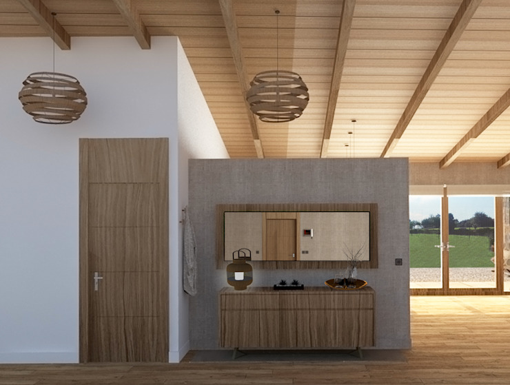 Hall de bienvenida Pasillos, vestíbulos y escaleras de estilo mediterráneo de arQmonia estudio, Arquitectos de interior, Asturias Mediterráneo