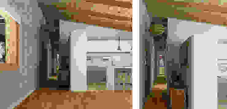 Muy diáfano. Pasillos, vestíbulos y escaleras de estilo mediterráneo de arQmonia estudio, Arquitectos de interior, Asturias Mediterráneo