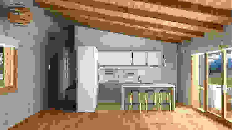 Cocina abierta. Cocinas de estilo mediterráneo de arQmonia estudio, Arquitectos de interior, Asturias Mediterráneo