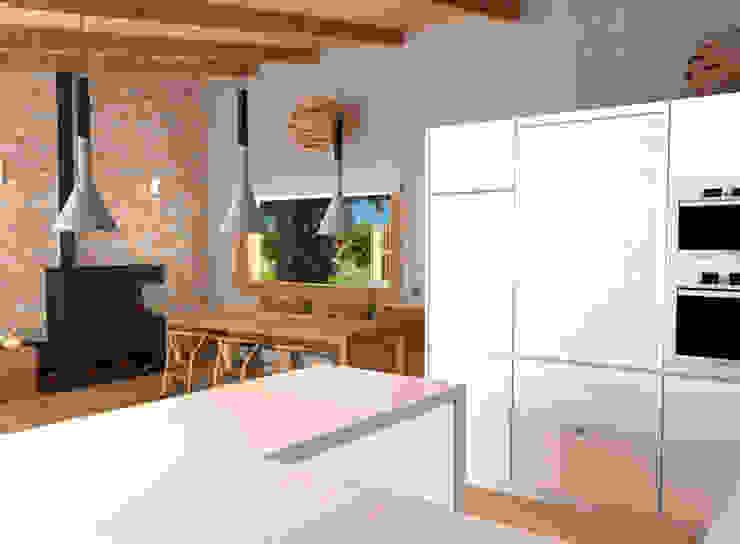 Una cocina bien comunicada. Comedores de estilo mediterráneo de arQmonia estudio, Arquitectos de interior, Asturias Mediterráneo