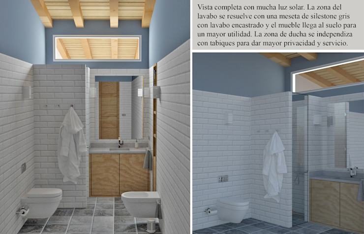 Iluminar con la luz solar sin ventana Baños de estilo mediterráneo de arQmonia estudio, Arquitectos de interior, Asturias Mediterráneo