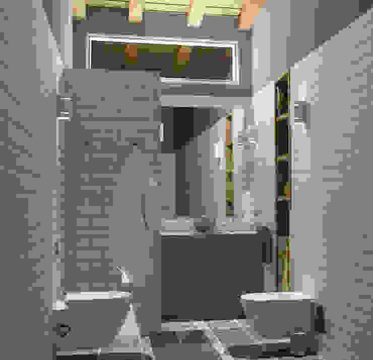 Luz escénica Baños de estilo mediterráneo de arQmonia estudio, Arquitectos de interior, Asturias Mediterráneo