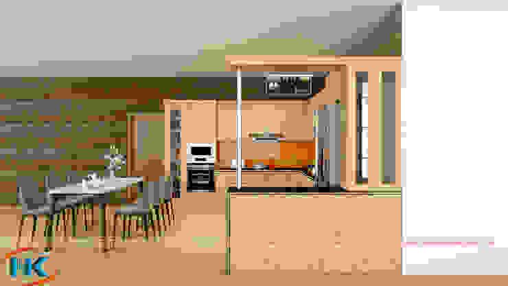 Combo 5 mẫu tủ bếp sồi nga có bàn đảo, quầy bar thông minh, tiện nghi bởi Nội thất Nguyễn Kim