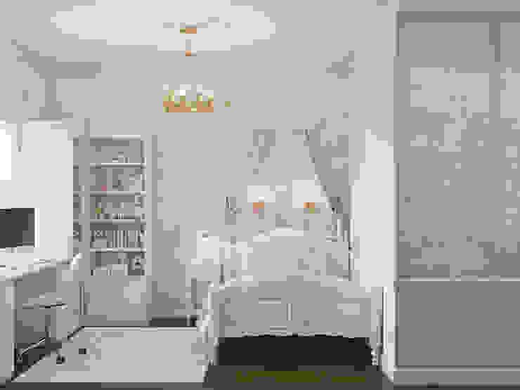 """Вторая детская интерьера """"Дворянское гнездо в Триумф Паласе"""": Спальни для девочек в . Автор – «Студия 3.14», Классический"""