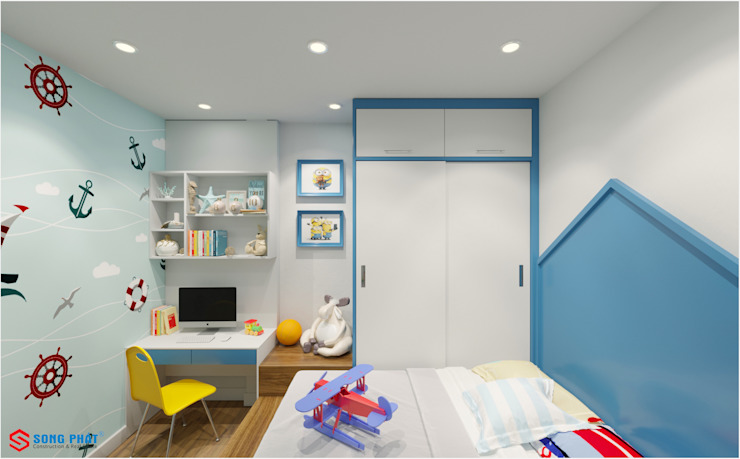 Công ty TNHH TK XD Song Phát BedroomWardrobes & closets Wood Blue
