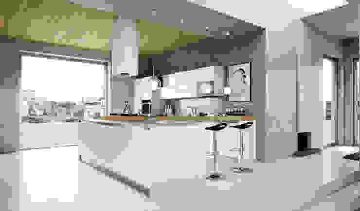Modern white hi gloss kitchen by ATLAS KITCHENS Modern MDF