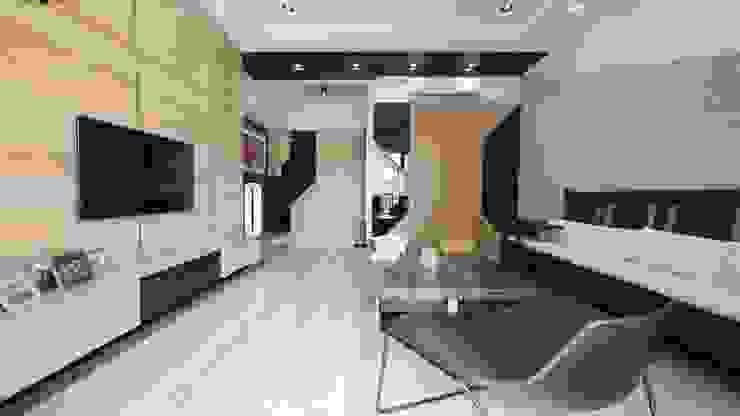 慢活,蕭邸(Hygge,H)-幾何與線條勾勒紅塵靜謐 现代客厅設計點子、靈感 & 圖片 根據 TL Interiors 現代風