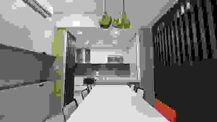 慢活,蕭邸(Hygge,H)-幾何與線條勾勒紅塵靜謐 現代廚房設計點子、靈感&圖片 根據 TL Interiors 現代風