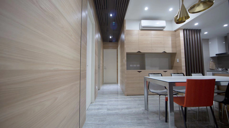 慢活,蕭邸(Hygge,H)-幾何與線條勾勒紅塵靜謐 現代風玄關、走廊與階梯 根據 TL Interiors 現代風