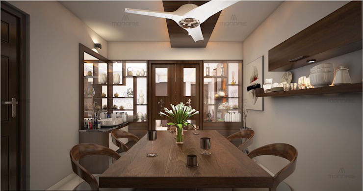 Best & Beautiful dining area Modern dining room by Monnaie Interiors Pvt Ltd Modern Engineered Wood Transparent