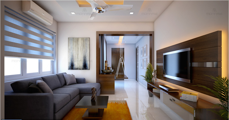 Best & Beautiful living area Modern living room by Monnaie Interiors Pvt Ltd Modern Engineered Wood Transparent