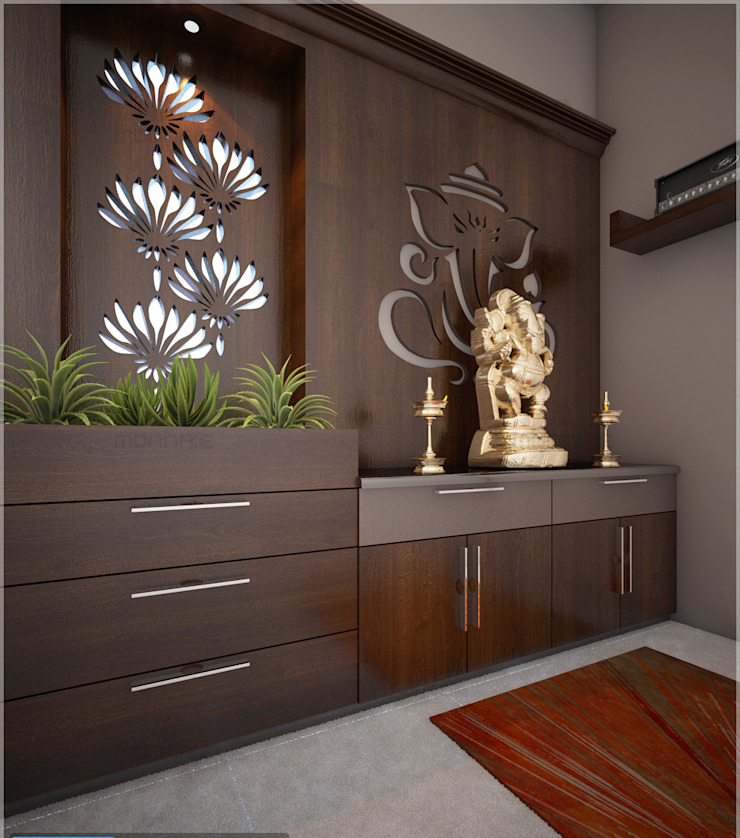 Best & Beautiful Pooja room view by Monnaie Interiors Pvt Ltd Modern Engineered Wood Transparent