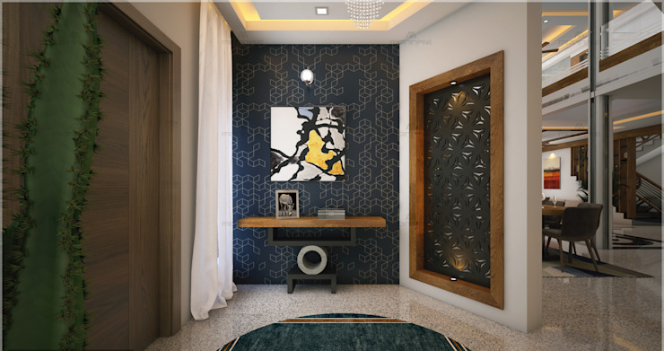 Best & Beautiful foyer view Modern living room by Monnaie Interiors Pvt Ltd Modern Engineered Wood Transparent