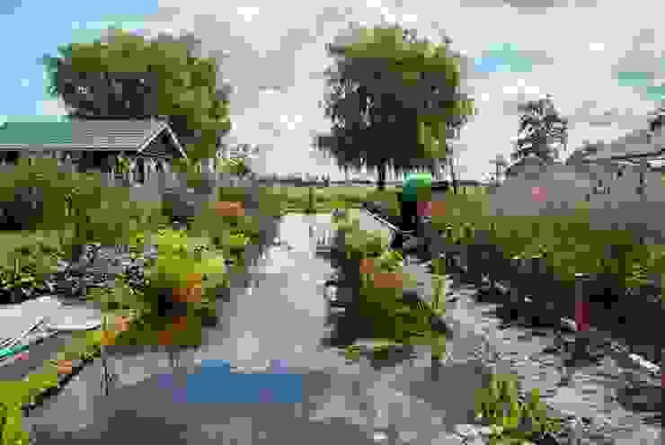 Uitzicht op polder over vijver. De Tuinregisseurs Vijver