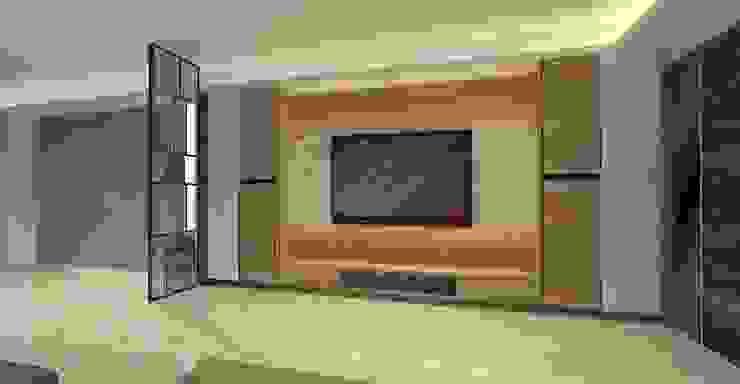 3D設計圖-客廳: 現代  by 圓方空間設計, 現代風