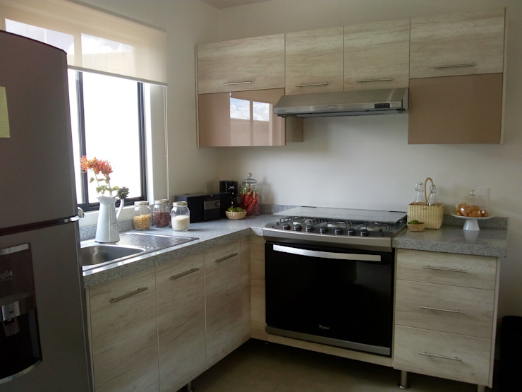 LuMi Arquitectos Small kitchens Beige