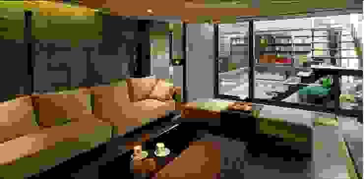 通往露臺的公領域分隔了客廳與書房 根據 鼎爵室內裝修設計工程有限公司 日式風、東方風