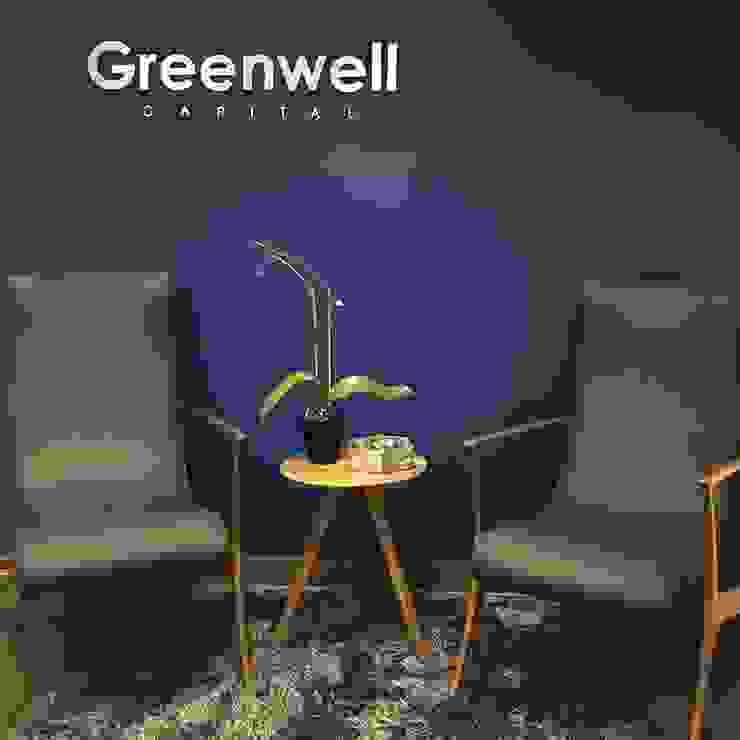 Sala de espera - Logotipo empresarial TALLER GRADO 13 ARQUITECTURA Pasillos, vestíbulos y escaleras modernos Aluminio/Cinc Azul