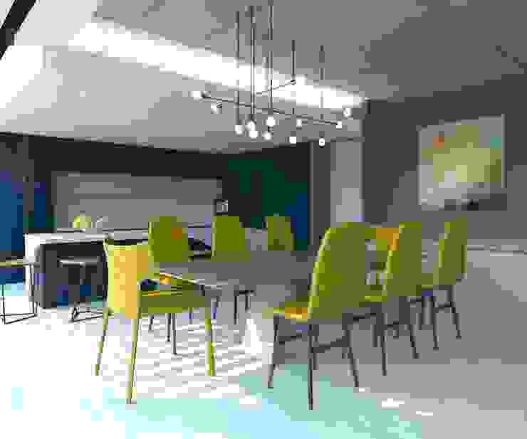 KALYA İÇ MİMARLIK \ KALYA INTERIOR DESIGN – Yemek Masası:  tarz Yemek Odası, Modern Metal