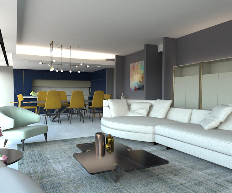 KALYA İÇ MİMARLIK \ KALYA INTERIOR DESIGN – Oturma Bölümü:  tarz Oturma Odası, Modern Mermer