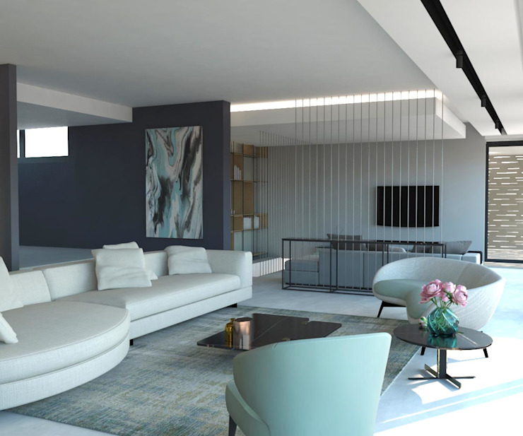 KALYA İÇ MİMARLIK \ KALYA INTERIOR DESIGN – Oturma Bölümü:  tarz Oturma Odası, Modern Seramik