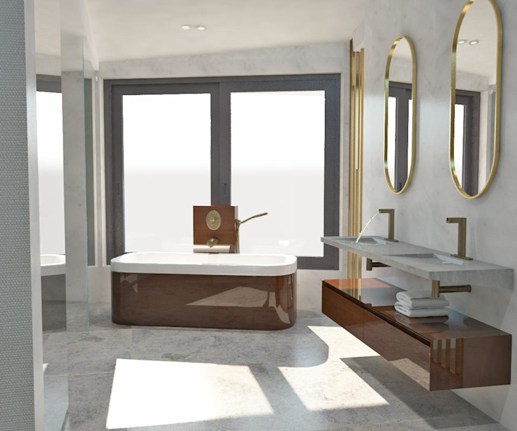 KALYA İÇ MİMARLIK \ KALYA INTERIOR DESIGN – Banyo - Küvet:  tarz Banyo, Modern Mermer