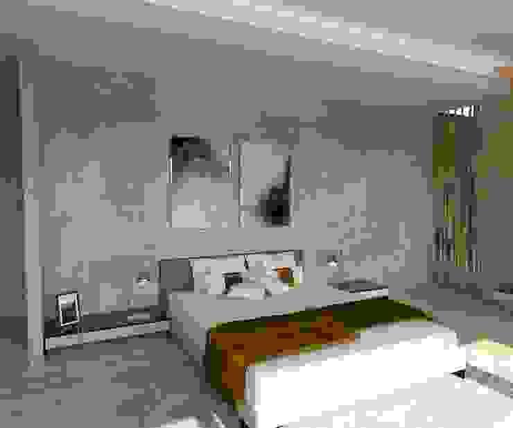 KALYA İÇ MİMARLIK \ KALYA INTERIOR DESIGN – Yatak Odası - Yatak Başı:  tarz Küçük Yatak Odası, Modern Seramik