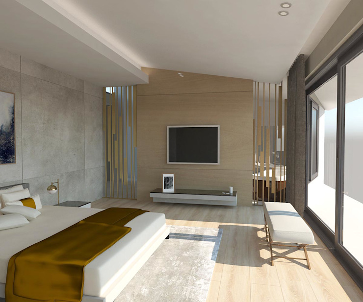 KALYA İÇ MİMARLIK \ KALYA INTERIOR DESIGN – Yatak Odası - TV Ünitesi:  tarz Küçük Yatak Odası, Modern Ahşap Ahşap rengi